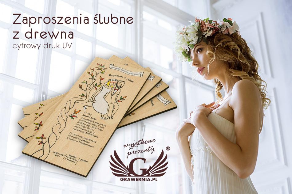 Zaproszenia ślubne Z Drewna Cyfrowy Druk Uv Zap001 Grawerniapl