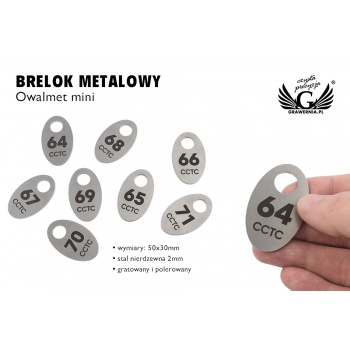 Brelok hotelowy lub do szatni - OWALMET MINI Stal gr. 2mm