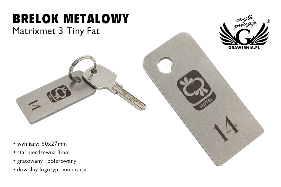 Brelok hotelowy - MATRIXMET 3 TINY FAT 60x27mm gr. 3mm - BM028
