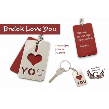 BRELOK I LOVE YOU z Twoim grawerem - BP63