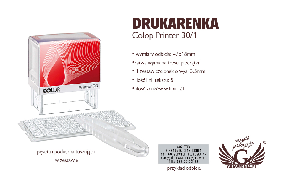 Drukarenka pieczątka Colop Printer 30/1 - wym odbicia: 47x18mm - COL021