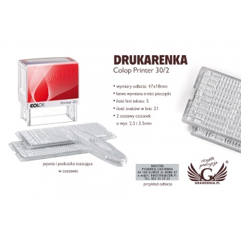 Drukarenka pieczątka Colop Printer 30/2 - wym odbicia: 47x18mm - COL022
