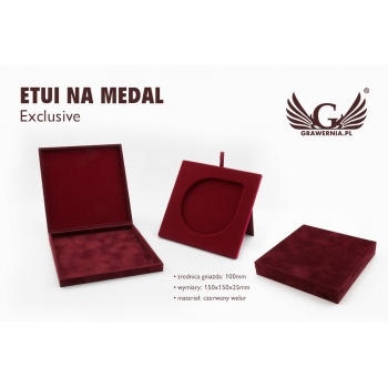 Etui exclusive na medal o średnicy 100mm - bordowe - ET020
