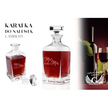 Karafka z grawerem do nalewek lub whisky - LAMBERT - Ms & Mrs - KAR044