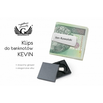 Klips do banknotów Kevin z grawerem - SP007