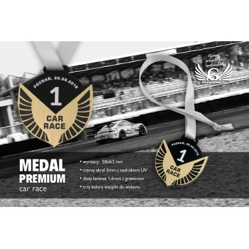 Medal Premium - Car Race - wymiary: 58x62mm - MGR070