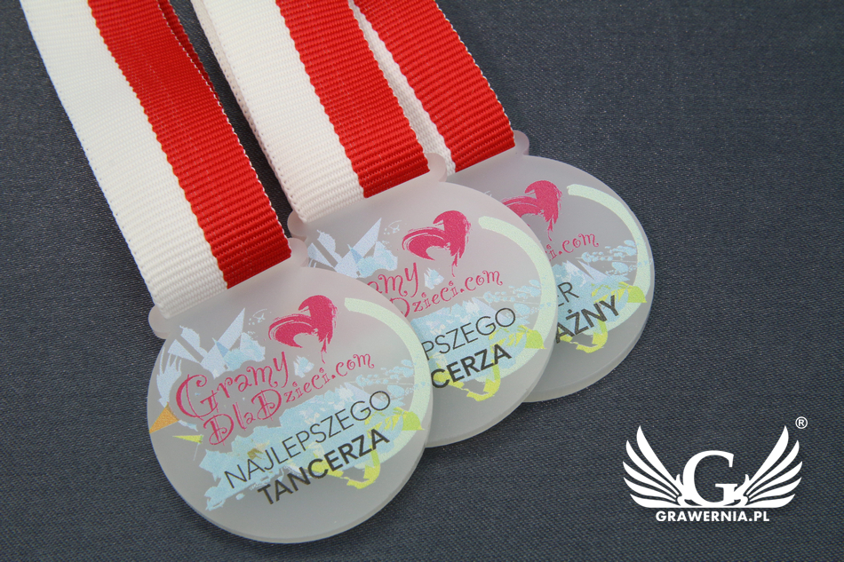 Medal z akrylu szronionego - druk UV - MAK002 - średnica 40 do 80mm