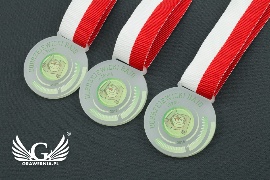 Medal z akrylu szronionego - druk UV - MAK001 - średnica 40 do 80mm