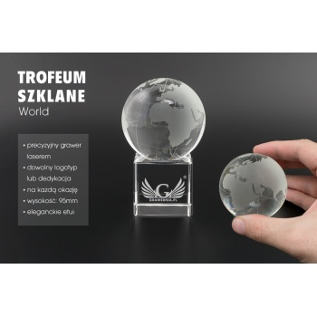 Mini trofeum szklane w etui - World - TSZ085