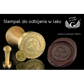 Pieczęć do odbijania w laku - CNC - średnica 38mm, grawer wklęsły