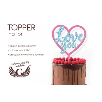 Topper na tort - love - kolorowy druk UV - TOP023