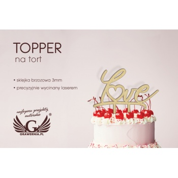 Topper na tort - love - TOP004