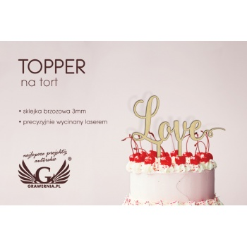 Topper na tort - love - TOP005