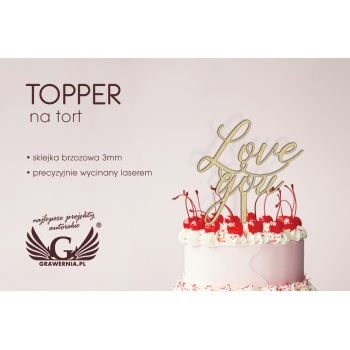 Topper na tort - love you - TOP006