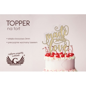 Topper na tort - made with love - TOP001