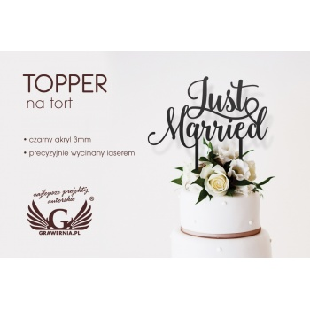 Topper na tort ślubny - Just Married - TOP030