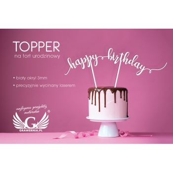 Topper na tort urodzinowy - happy birthday - TOP013