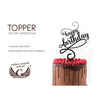 Topper na tort urodzinowy - happy birthday - TOP024