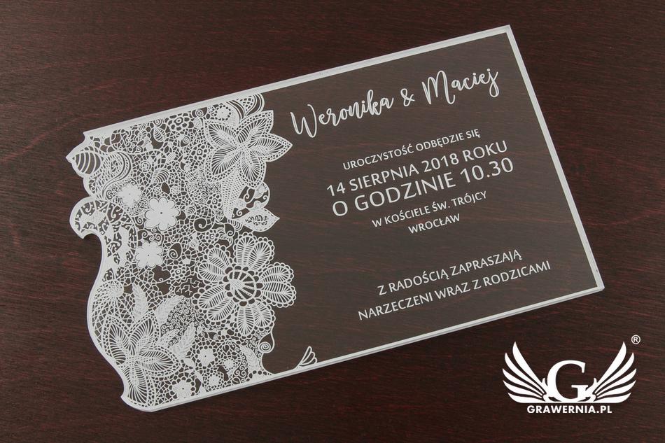Zaproszenia ślubne Z Akrylu Cyfrowy Druk Uv Zap036 Grawerniapl