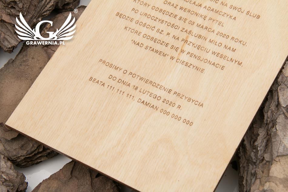 Zaproszenia ślubne Z Drewna Grawerowane Laserem Zap055 Grawerniapl