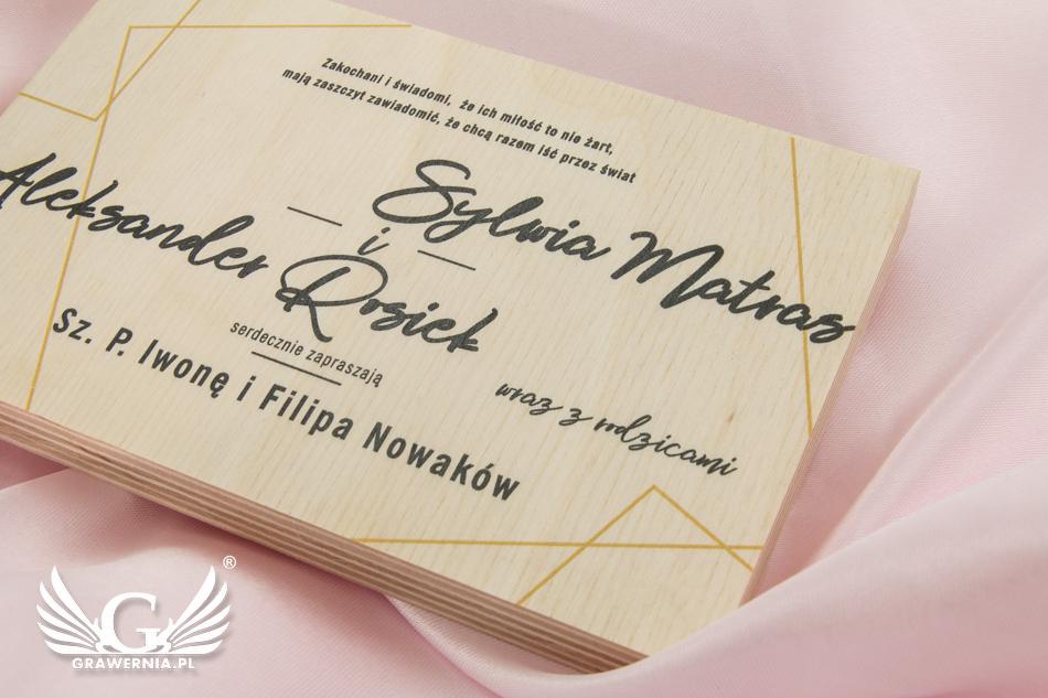 Zaproszenia ślubne Z Naturalnego Drewna Cyfrowy Druk Uv Zap049